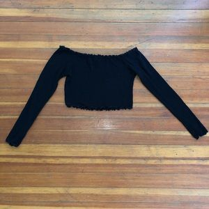 Small Black Off the Shoulder Long Sleeve Crop Top
